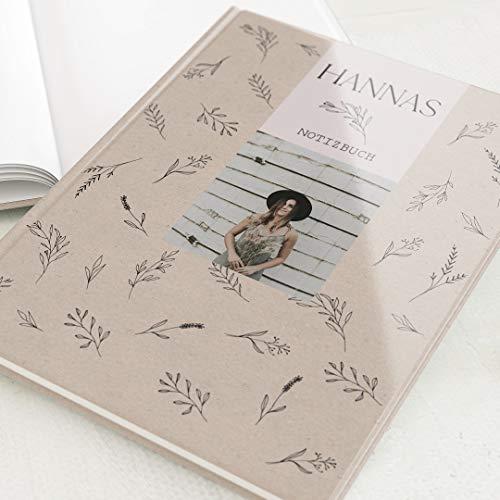 sendmoments Leeres Notizbuch, personalisiert mit Ihrem Text und -bild, Kräuter & Kraftpapier, Schreibbuch, hochwertige Blanko-Innenseiten, Hardcover-Buch Hochformat, 32 Seiten oder mehr, classic craft
