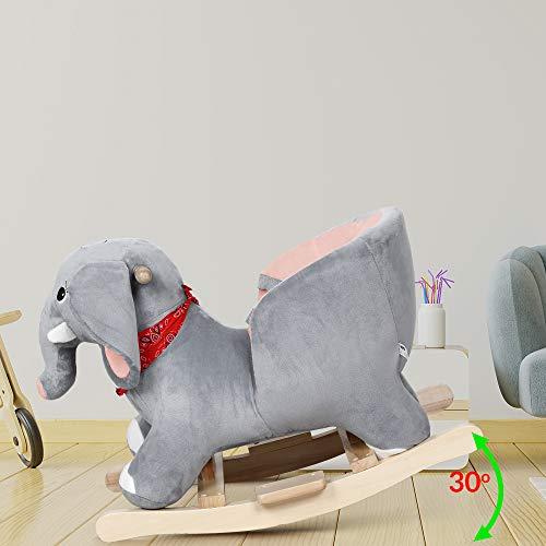 Deuba Schaukelelefant   Schaukeltier Plüsch Schaukel Wippe Pferd Einhorn Kinder Baby Spielzeug   Sound-Geräusche   inkl. Sicherheitsgurt   Balancetraining   besonders weich - 7