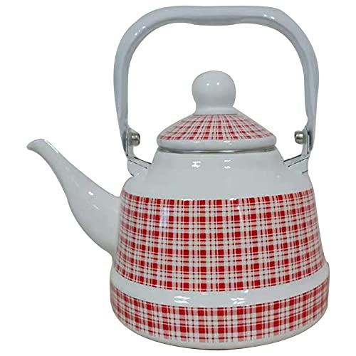 XXXD Hervidor de agua con forma de campana antigua, patrón de tela blanca, rejilla rosa, gran capacidad, 2,5 l