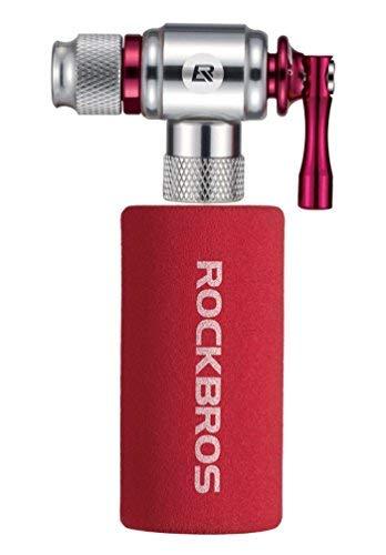 ROCKBROS Bomba CO2 Inflador Cartucho Válvula Presta y Schrader Compatible Protección con Cubierta Aislada de Aleación de Aluminio para Bicicletas MTB Bici de Carretera