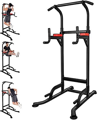 Power Tower, Entrenador de Músculos Abdominales, Barra de Dominadas Multifuncional de Torre de Músculos, Estabilidad, Espalda y Tríceps, Dominadas - Gimnasio familiar