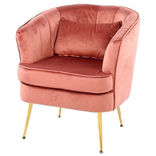 Cikonielf Schlafzimmer-Sessel aus Samt mit Metallbeinen vergoldet, Stuhl für Wohnzimmer, Kaffee, Schlafzimmer, 60 x 45 x 65 cm (Rosa)