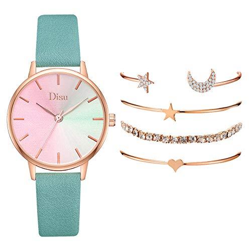Powzz - Reloj inteligente con esfera degradada de poliuretano, pulsera para mujer, movimiento de cuarzo, color verde menta + pulsera