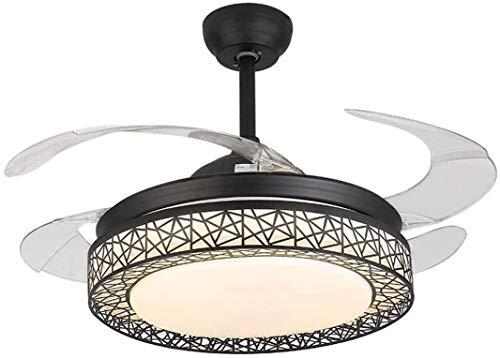 QTWW Ventiladores de Techo, luz con 4 aspas retráctiles, Luces de Techo, Tres lámparas Colgantes Que cambian de Color, con Control Remoto, Ventilador de Techo LED con candelabros LED de luz regul