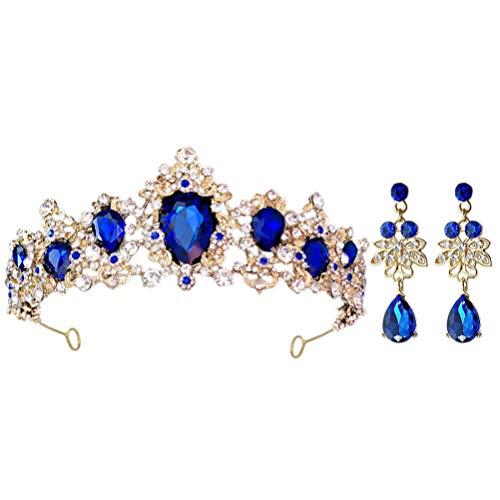 Minkissy Coronas de Novia Barrocas Tiara de Cristal con Diamantes de Imitación...