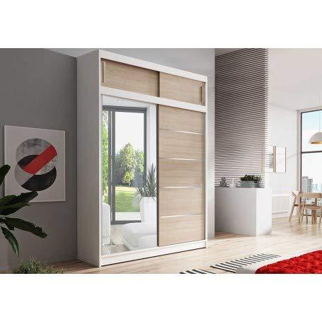 Kleiderschrank Schwebetürenschrank 2-türig Schrank mit zusätzlichen Stauraum+1 Tür mit Spiegel vielen Einlegeböden und Kleiderstange Gaderobe Schiebtüren BxHxT 150x245x61 - Lara 05 (Weiß + Sonoma)