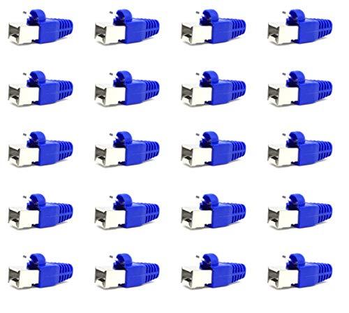 ShipeeKin 20 Conectores modulares Blindados de Red Ethernet RJ45 Cat5e Cat5 Cat 5e CAT6 Cat6e 8P8C UTP STP 50U Chapado en Oro LAN Cable Plug Crimp (Azul)