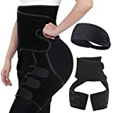 Waist and Thigh Trainer Trimmer for Women | Waist Trainer | 4in1 Neoprene Butt Lifter Waist Trainer Shaping Slimming Support | Adjustable Slimming Body Shaper Belt (Black, L/XL)