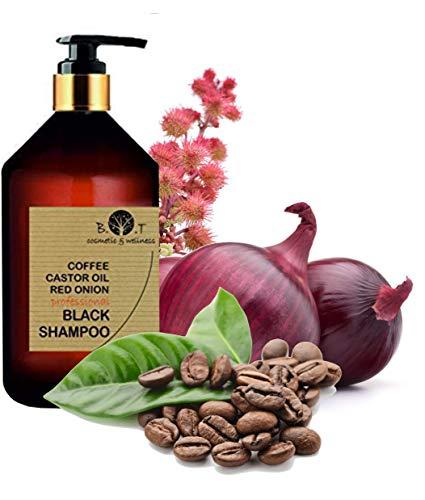 Shampooing Noir Anti Pollution Volumateur à la Caféine, Huile de Ricin et Extrait d'Oignon Rouge Efficace contre la perte de cheveux Shampoing sans sulfate 500 ml