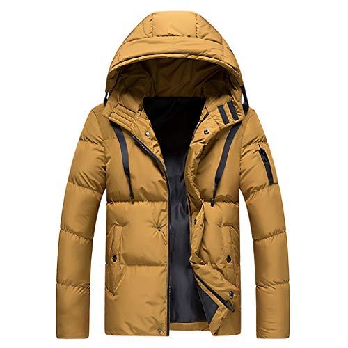 Yumso Manteau à Chapeau Softshell Amovible Veste en Coton Homme épaissi Chaud Hiver Parka Rembourré Manteaux Trench Zippé Poches Coat Slim Fit Décontractée Blouson Jacket