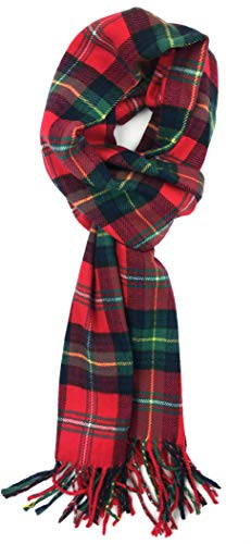 Plum Feathers Super Soft Luxurious Cashmere Feel Winter Scarf (Bright Red-Green Tartan Plaid)