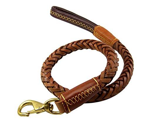 Vivi Bear correa de perro, marrón, durable, suave, cuero real, trenzado, para perros grandes-1,1 m de largo x 2,5 cm de ancho