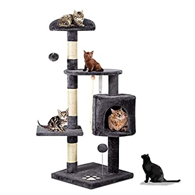 """Mellcom 44"""" Multi-Level Cat Tree Tower Condo with Cat Scratching Post Hideaway House and Platforms,Kitty Activity Center Kitten Play House, Cat Tower Furniture for Kitty (Dark Grey)"""