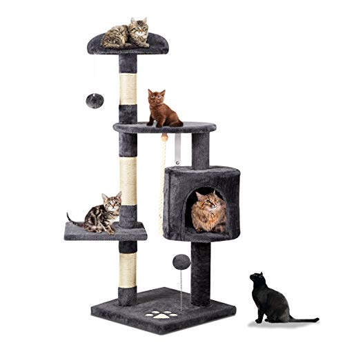 Mellcom 44' Multi-Level Cat Tree Tower Condo with Cat Scratching Post Hideaway House and Platforms,Kitty Activity Center Kitten Play House, Cat Tower Furniture for Kitty (Dark Grey)