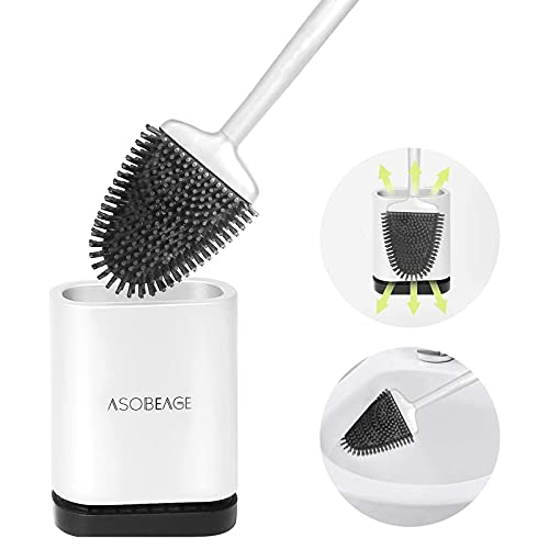ASOBEAGE Toilet Brush,Deep Cleaner Silicone Toilet Brushes with No-Slip Long Plastic Handle and Flexible Bristles, Silicone Toilet Brush with Quick Drying Holder Set for Bathroom Toilet (White)