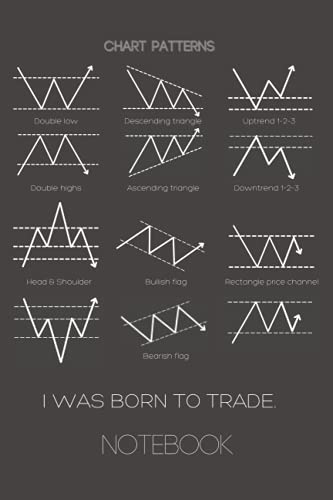 Notebook with Trading Chart Patterns on cover.: I was born to trade. Grid sheets, 6 x9 , 100 pages.