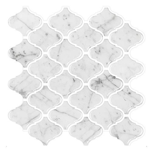 "STICKGOO 10-Sheet Arabesque Peel and Stick Tile, 12""X12"" White Marble Look Stick on Tiles Backsplash (Thicker Design)"