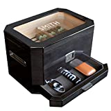 Monogrammed Octodor Large Black Piano Finish Glass Top Cedar Humidor with Digital Hygrometer, Humidification System, and Accessory Drawer - Holds (50-100 Cigars) by Case Elegance