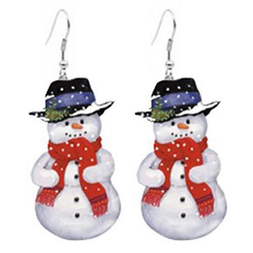 Sanheng Christmas Earrings Studs for Women, Xmas Style Earrings for Girls Kids, Christmas wreath candy house earrings Christmas tree snowman earrings(white)