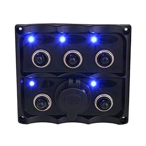WINOMO Painel de interruptor de 5 vias pré-conectado com fio de interruptor com tomada de isqueiro de 12 V 24 V para carro, barco, motocicleta, ônibus, reboque.