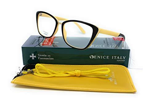 Gafas de lectura Mujer Diseño en Colores: Rojo, Azul, Amarillo. VENICE Audrey - Dioptrías: 1 a 3,5 (Amarillo, 2,00)