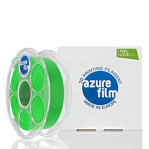 AZUREFILM 3D Filamento PLA per stampa 3D professionale 1,75 mm - Accessori di stampa 3D indispensabili - Precisione dimensionale elevata +/- 0,02 mm, Bobina 1 kg, Verde Chiaro