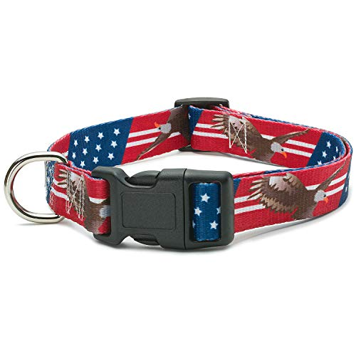 American Flag Dog Collar in 5 Different Sizes (Bald Eagle, Large)
