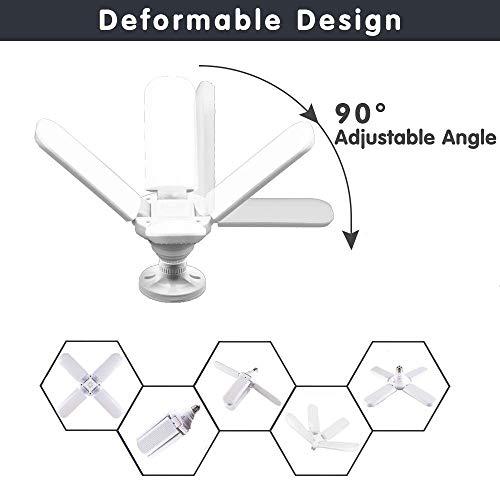 Intpro LED Garage Light, Deformable Garage Ceiling Light,60W 6000LM E26/E27 Super Bright Bulb,6500K Daylight High Bay Light Lamp with 4 Adjustable Panels,Utility Shop Light
