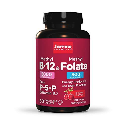 Jarrow Formulas Methyl B-12 & Methyl Folate - 60 Chewable Tablets, Cherry - Bioactive Vitamin B12 & B9 - Supports Energy Production, Brain Function & Metabolism - Gluten Free - 60 Servings