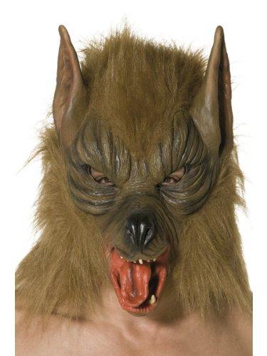Smiffys-33785 Careta de lobo, Para la cabeza, látex, color marrón, Tamaño único (Smiffy's 33785) , color/modelo surtido