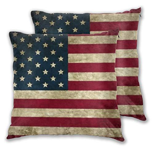 MaJack - Set di 2 federe per cuscini quadrati, motivo bandiera americana, vintage, per divano, camera da letto, auto, 50 x 50 cm