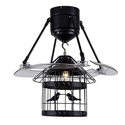 BAIJJ Moderne plafondventilator, 48 inch, Scandinavische stijl, met geluidsarme ventilator met vogelkooi van ijzer met afstandsbediening, kroonluchter voor binnenverlichting
