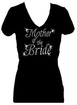 Mother of The Bride Rhinestone Womens V Neck Short Sleeve Tee Shirt  L  Black