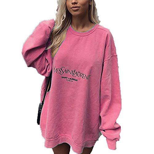 SLYZ 2021 Moda Femenina Europea Y Americana con Estampado Casual Suelta Camiseta De Longitud Media Sudadera