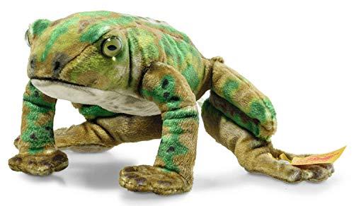 Steiff 056536 Original Plüschtier Froggy Frosch, National Geographic Kuscheltier ca. 12 cm, Markenplüsch mit Knopf im Ohr, Schmusefreund für Babys von Geburt an, grün