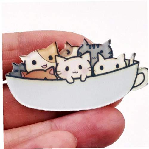 1 ST Acryl Broche Mode Badge Katten In De Beker Pin Decoratie Op Rugzak Kleding Sjaal Hoed Kids Party Geschenken