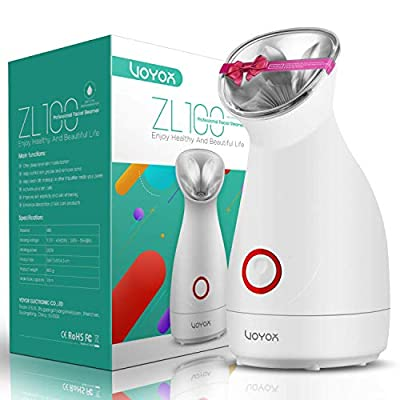 VOYOR Face Steamer Professional Facial Steamer for Pores Sinuses Acne and Blackheads, Nano Ionic Face Humidifier, Warm Mist Face Sauna Steaming Skincare, Deep Cleanse Home Spa ZL100 by Voyor