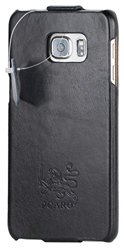 PCARO® Smooth Jazz Echtleder Hülle - Handmade Leder Tasche für Samsung-Galaxy-S7-Edge in Schwarz inkl. Display Schutzfolie - ORIGINAL Cover