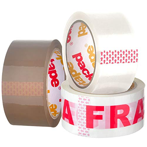 Packatape 3 Rolls General Purpose Packaging Tape - 1 Roll x Brown, 1 Roll x Clear, 1 Roll x Fragile Tape 48mm x 66m