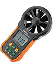 PM6252A digitale windsnelheidsmeter, handheld windsnelheidsmeter met groot LCD-scherm en achtergrondverlichting, luchtstroommeter met draagbaar zwart