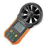 Medidor Digital de Velocidad del Viento PM6252A, medidor de Velocidad del Viento portátil con anemómetro con Pantalla Grande LCD y luz de Fondo, medidor de Volumen de Aire con Bolsa