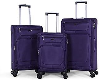 Giordano Luggage Trolley Bags Set, 3 Pcs With 4 Wheel, Purple - 18010, Unisex