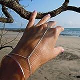TseenYi Pulsera de cadena de dedo bohemio, pulsera de dedo de oro, joyería de cadena de mano de verano para mujeres y niñas (plata)
