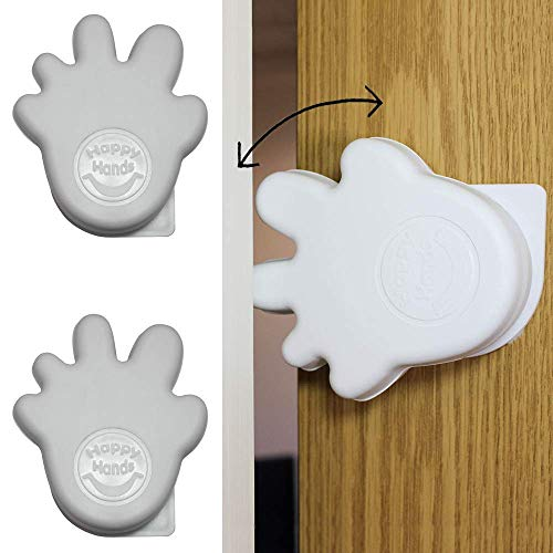 Happy Hands Anti Slam Child Door Safety Finger Trap Stoppers - 2 Pack … (White)