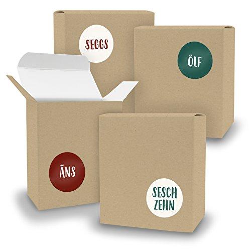DIY itenga Adventskalender Set V08 zum Selberbefüllen 24x Schachtel in Quader-Form Braun Kraftkarton + ZahlenSticker (Motiv Z27 Saarländisch)