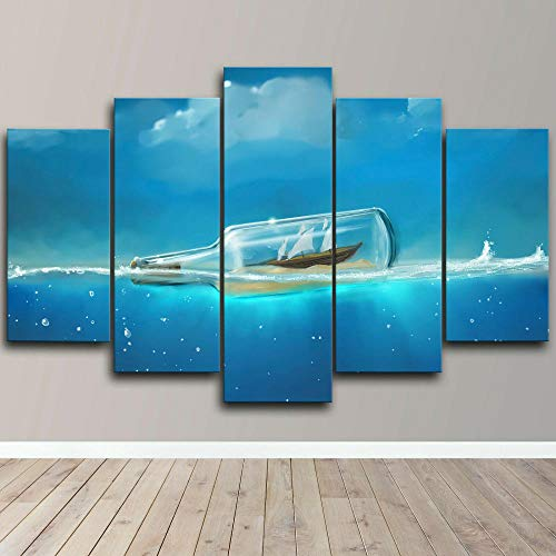 ELSFK Cuadro En Lienzo Barco en Botella océano Impresión De 5 Piezas Material Tejido No Tejido Impresión Artística Imagen Gráfica Decor Pared 100x55cm