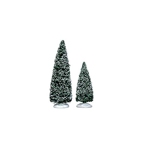 Lemax - Snowy Juniper Tree, Medium & Small, Set Of 2