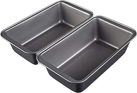 AmazonBasics - Moldes para hornear pan, antiadherentes, de acero al carbono, juego de 2 - 23,5 x 12,7 cm