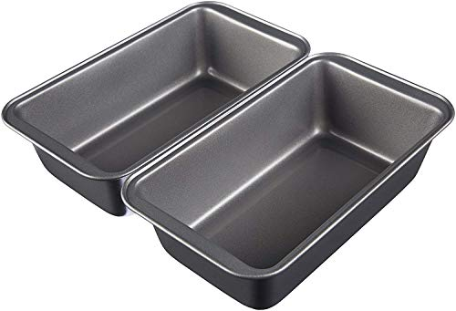 Amazon Basics Nonstick Carbon Steel Baking Bread Pan, 9.5 x 5 Inch, Set of 2