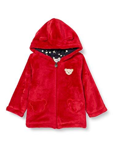Steiff Baby-Mädchen mit süßer Teddybärapplikation Fleecejacke, Rot (Tango RED 4008), 068